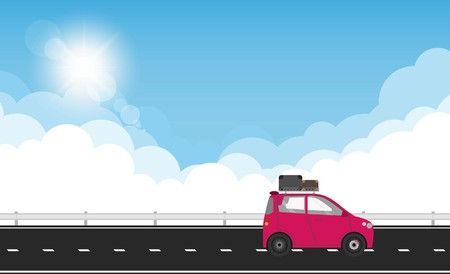 Car with suitcases luggage on roof rack, vector illustration Illustration