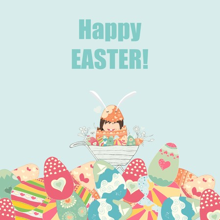 Cartoon girl rabbit happy easter, drawing by hand vector, drawing by hand vector