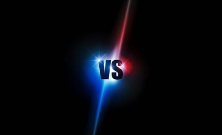 Symbol Neon gegen Logo gegen Buchstaben für Sport und Kampfwettbewerb. Kampf und Match, Spielkonzept wettbewerbsfähig. Vektorillustration Logo