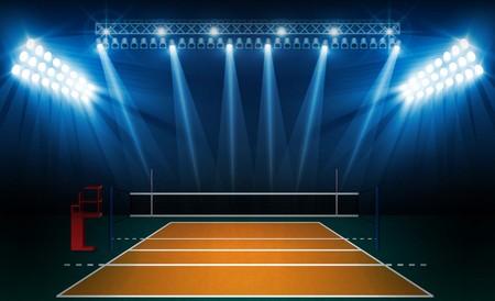 Volleyball court arena field with bright stadium lights design. Vector illumination 일러스트