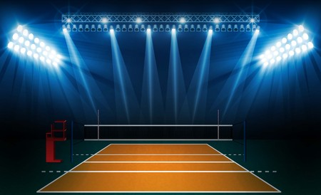 Volleyball court arena field with bright stadium lights design. Vector illumination Illustration