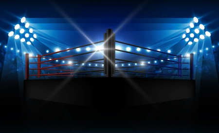Boxing ring arena and floodlights vector design. Vector illumination 向量圖像