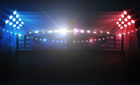Arène de boxe et projecteurs vector design. Éclairage vectoriel