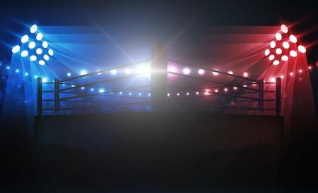 Arena di boxe ring e proiettori disegno vettoriale. Illuminazione vettoriale