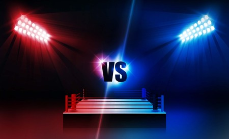Boxing ring arena and floodlights vector design. Vector illumination