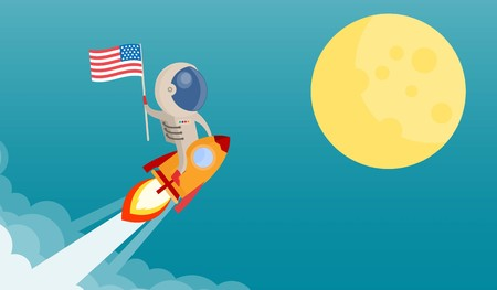 Flag of the United States to the moon by astronaut riding a rocket and smoke through cloud into space. flat design. Vector illustration. Ilustração
