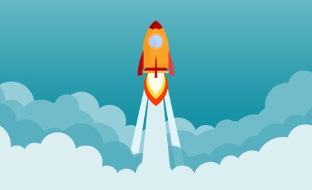 Rocket launch and smoke through cloud into space. Startup - flat design. Vector illustration. Vektorové ilustrace