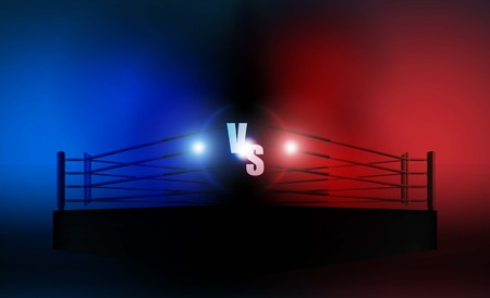 Boxing ring arena vs letters for sports and fight competition. Battle and match design. Vector illumination Иллюстрация