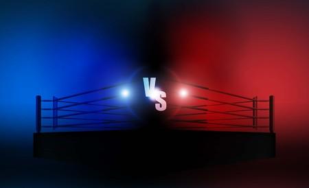 Boxring Arena gegen Briefe für Sport und Kampfwettbewerb. Battle and Match Design. Vektorbeleuchtung Vektorgrafik