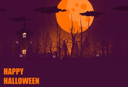Happy Halloween background and scary tree pumpkin on graveyard full moon dark night and tombstone black bat. church on graveyard. Vector illumination