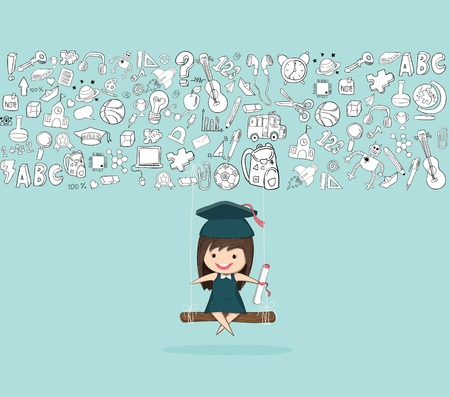 Girl graduated pupils swinging on a back of school, drawing by hand vector