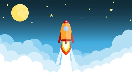 Rocket launch and smoke through cloud into space. Startup - flat design. Vector illustration.