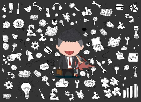 Vector illustration of a happy face businessman on icon business doodles. a concept of balancing personal life between office and exercise. drawing by hand vector