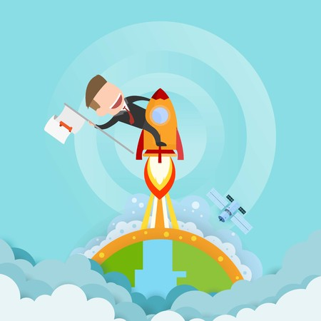 Businessman riding a rocket and smoke through cloud Business startup concept. vector illustration. flat design. Illustration