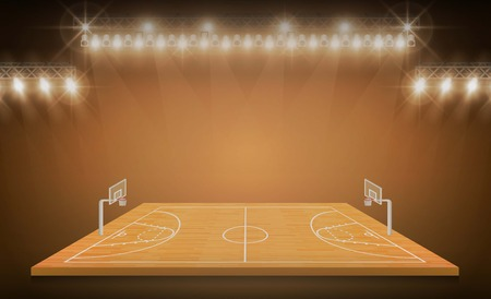 Basketball arena field with bright stadium lights design.match vs strategy broadcast graphic template. Vector illumination Illustration
