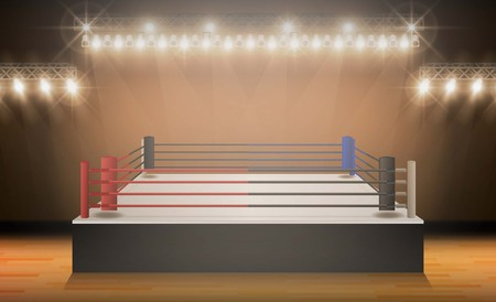 Boxing ring arena vs letters for sports and fight competition. Battle and match design. Vector illumination 矢量图像