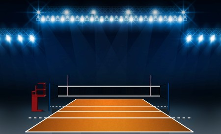 Boisko do siatkówki z jasnymi światłami stadionowymi. Oświetlenie wektorowe