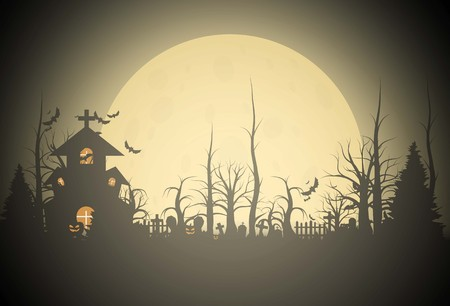 Halloween background and scary church on graveyard. Vector illumination