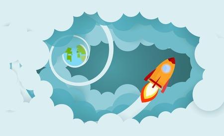 Cohete y humo a través de la nube Concepto de inicio de negocios. ilustración vectorial. diseño plano.