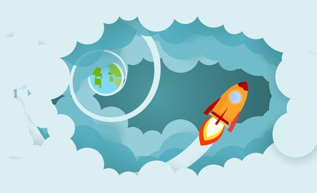 Rocket and smoke through cloud Business startup concept. vector illustration. flat design.
