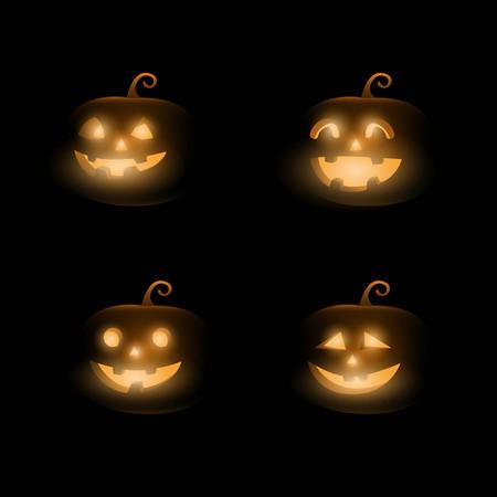 Dark Cute halloween pumpkins. Isolated on black background. vector illustration.
