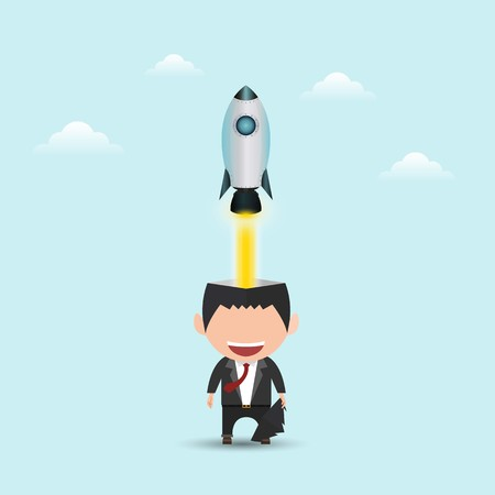 Successful businessman with rocket ship launching from his head. Business idea start up concept. vector illustration. flat design.