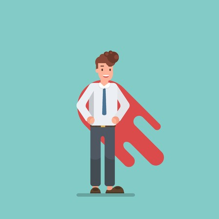 Happy face business man superhero. flat design. Vector illustration. Illustration