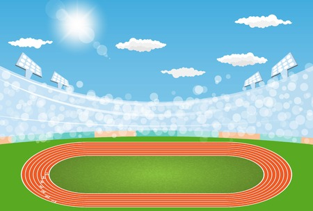 Running track arena field with day design. Vector illumination
