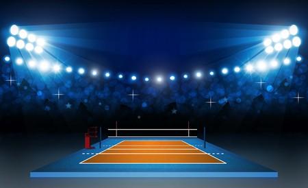 Boisko do siatkówki z jasnym oświetleniem stadionu. Oświetlenie wektorowe