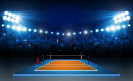 Volleyball court arena field with bright stadium lights design. Vector illumination Çizim