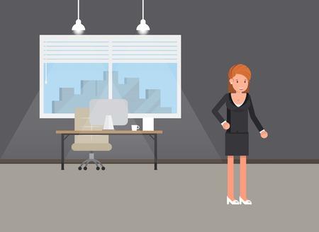 Business power concept. Businesswoman standing Self confidence Future goal Self development. Vector illustration. Illustration