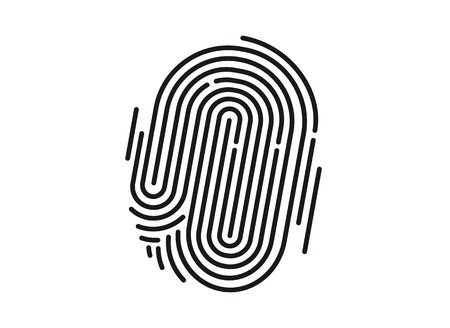 Black isolated fingerprint on white background, Vector illustration