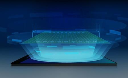 Phone on American football arena field with bright stadium lights design. Vector illumination Illustration