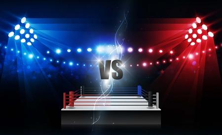 Arena de ring de boxeo y diseño vectorial de reflectores. Iluminación vectorial Ilustración de vector