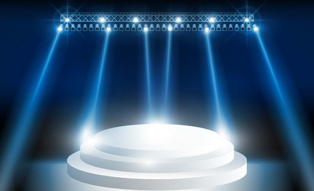 Stage on background and spotlight. Vector illumination