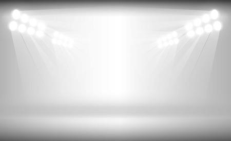 Bright stadium arena lights on white background vector design. Vector illumination Çizim