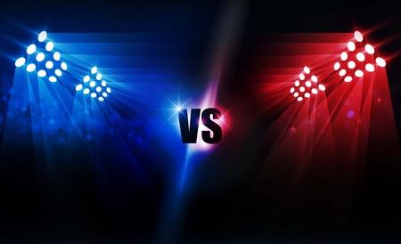 Boxring Arena und Flutlicht Vektordesign Helle Stadionarena leuchtet rot blau. Vektorbeleuchtung Vektorgrafik