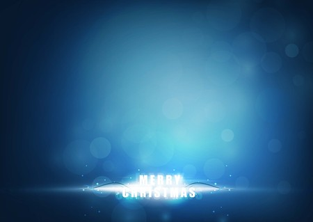 Merry christmas bright rays of light with blue color background. vector illustration Vetores