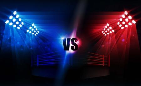 Arena de ring de boxeo y diseño de vectores de reflectores Arena de estadio brillante luces rojo azul. Iluminación vectorial
