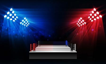 Arena de ring de boxeo y diseño de vectores de reflectores Arena de estadio brillante luces rojo azul. Iluminación vectorial Ilustración de vector