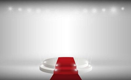 Stage red carpet on white background. Vector illumination Vectores