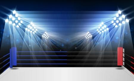 Arena ring bokserski i projekt wektora reflektorów Jasne światła stadionu arena czerwony niebieski. Oświetlenie wektorowe
