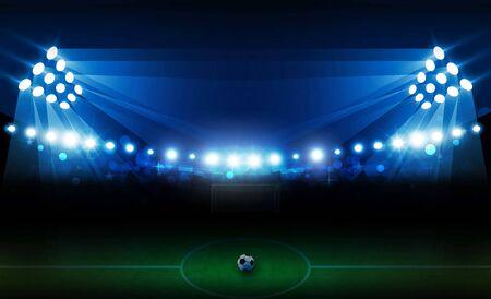 Campo dell'arena di calcio con disegno vettoriale di luci luminose dello stadio. Vettoriali