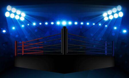 Arena de ring de boxeo y diseño de vectores de reflectores Arena de estadio brillante luces rojo azul. Ilustración de vector