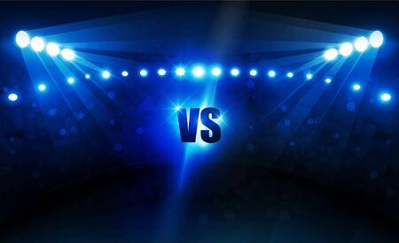 Fußballarenafeld mit hellen Stadionlichtern Vektordesign Vektorbeleuchtung