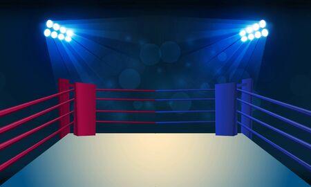 Arena del ring di pugilato e proiettori di riflettori disegno vettoriale. Illuminazione vettoriale Vettoriali