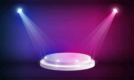Stage podium with lighting, Stage Podium Scene with for Award Ceremony on Light pink Background vector design.