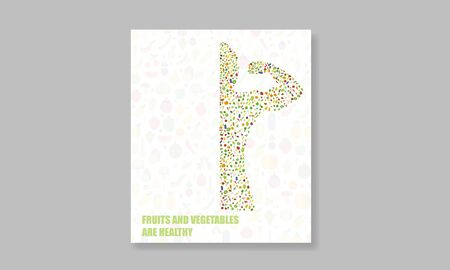Book Sporty man  bodybuilder in silhouette on Random Vegetable fruit background and letters for health and sanitation vector design