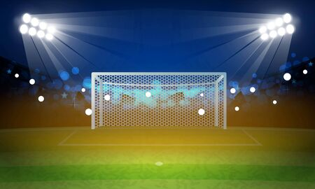 Football arena field with bright stadium lights vector design