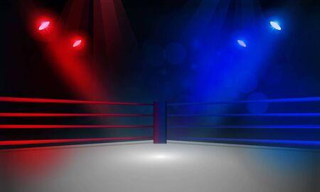 Arena del ring de boxeo y diseño de vector de reflectores de foco. Iluminación vectorial Ilustración de vector